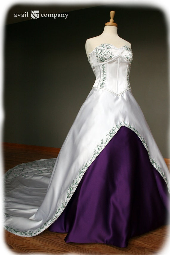 White and purple wedding dress with green embroidery custom for Wedding dress with purple embroidery