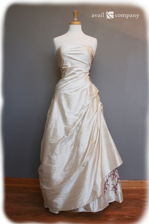 Cherry Blossom Wedding Dress Pink And Brown On Pearl By