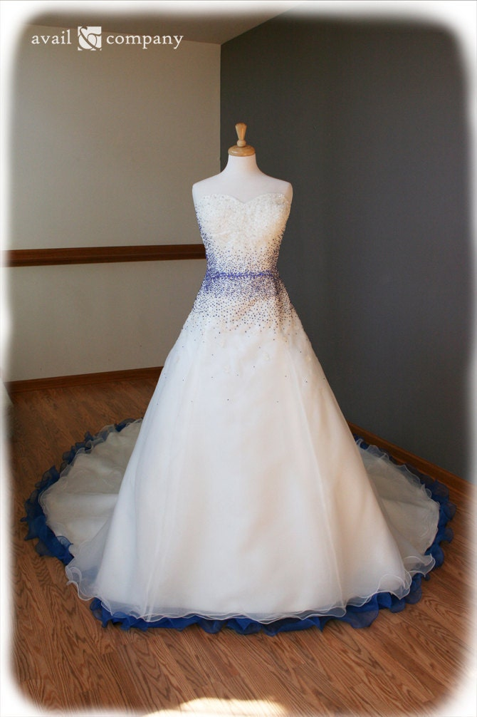 Blue And White Ball Gowns White and Blue Wedding...