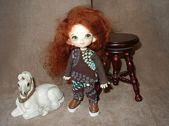 Brown Floral Long Sleeved Top and Pants set for PukiFee / Lati Yellow / 16cm doll