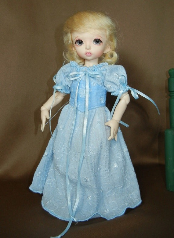 """Blue Peasant Dress Outfit for Yo-SD / LittleFee / 10"""" BJD"""
