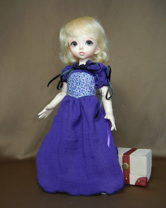 """Purple Peasant Dress Outfit for Yo-SD / LittleFee / 10"""" BJD"""