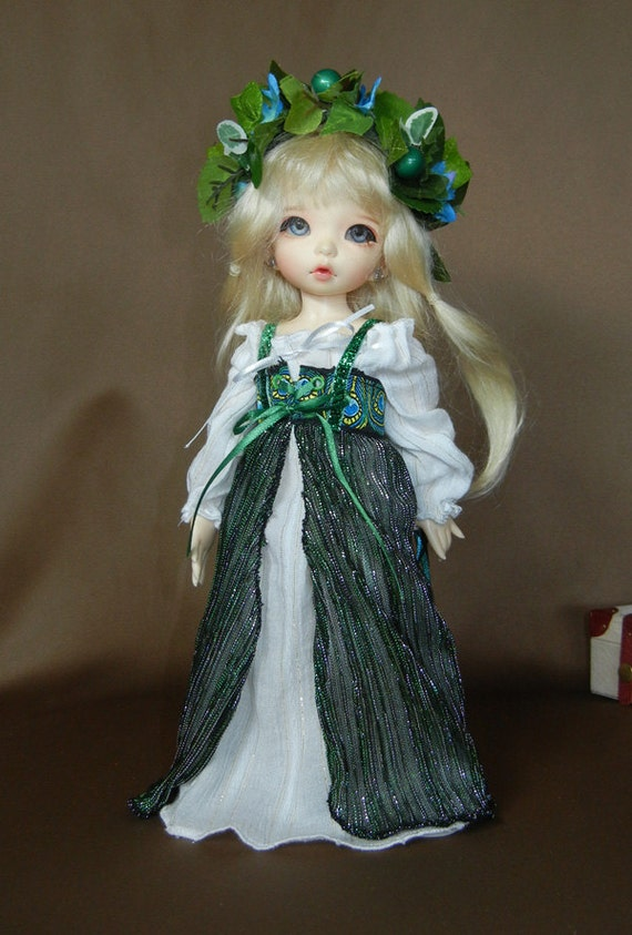 "Peacock Green and White Renaissance Gown Outfit for Yo-SD / LittleFee / 10"" BJD"