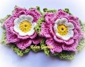 Set of Two Adelie Crochet Flower - mariamanuel