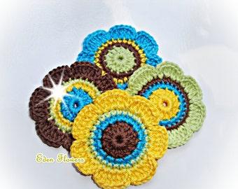 Crochet Flowers  ref   X118   4 Flowers