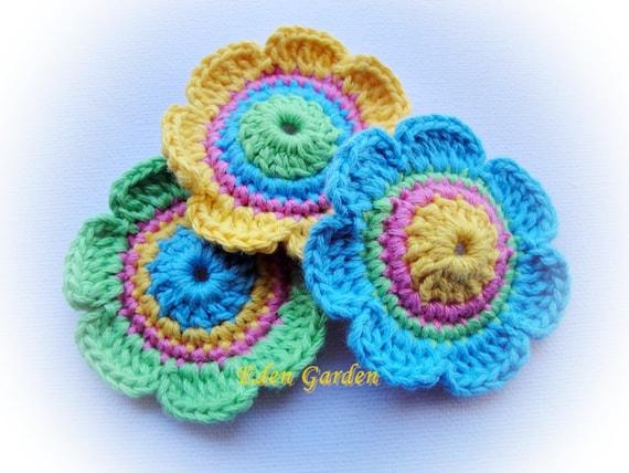 Colorful 3  Crochet Flowers