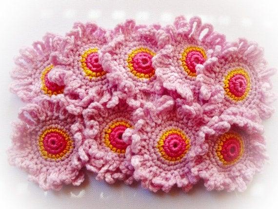 9 Pink Crochet Flowers