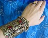 Large Steel Pakistani Jeweled Cuff