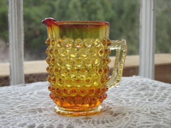Antique Hobnail Amberina Pitcher Toothpick Holder