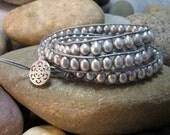 Silver Freshwater Pearl Three Wrap Bracelet