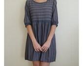 Short Women Dress Dark Blue Short Sleeve Stripy Round Neck