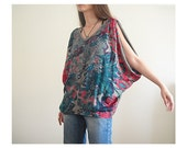 Oversize Pattern Colorful Large Top V Neck Soft Cotton