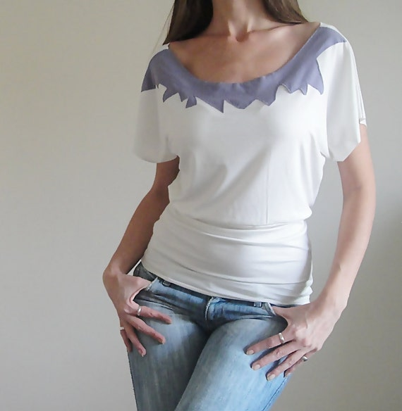 Jersey  Offwhite Boat Neck Low-Sleeved Stone Age Blouse