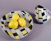 Art Pottery Pitcher and Tray, Mid Century Modern Swiss Studio Ceramic Art, Switzerland, 1970s.  Yellow, Black, White, Tiles, Checks.