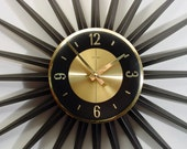 RESERVED for KEELY    MidCentury Modern Starburst Clock Welby.  24 Rays,  Atomic Wall Clock, Fireworks Sunburst Clock Design