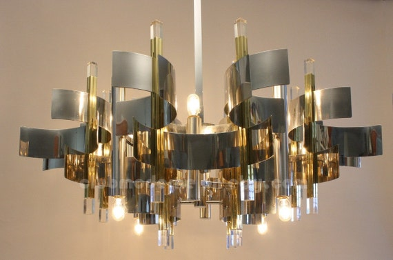 RESERVED CURRENTLY for MW.....Mid Century Chandelier by Gaetano Sciolari. Hanging Lamp, Pendant Lamp, Light Fixture, Modernist Lamp.