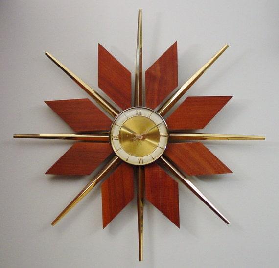 Mid Century Modern Starburst Wall Clock Teak Brass Sunburst