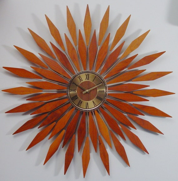 Starburst Wall Clock1960s Mid Century Modern By Clubmoderne