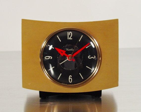 "Westclox Table Alarm Clock, ""Pittsfield"" Desk Clock Model in Blonde.  The ""Smiling Clock"" is back. :)"