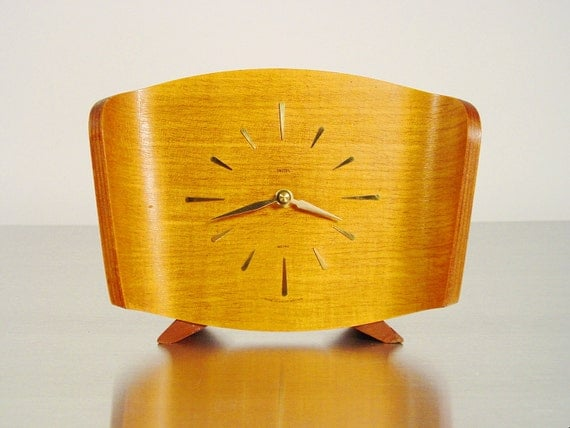 chip molded plywood desk clock woodhaven model mid century