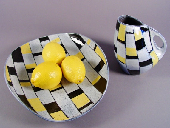Art Pottery Pitcher and Tray, Mid Century Modern Swiss Studio Ceramic Art, Switzerland, 1970s.  Yellow, Black, White, Tiles, Checks.