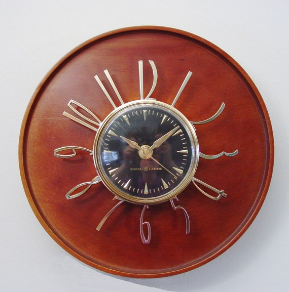 Modernist Wall Clock Ge Telechron Model 2h59 Mid Century