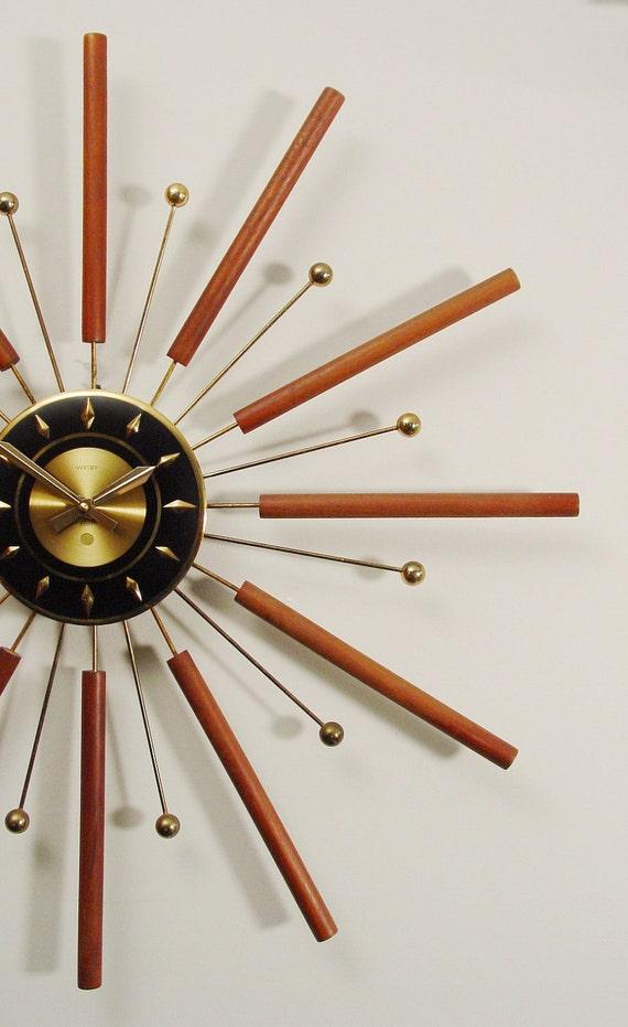 starburst wall clock mid century modern sun burst by