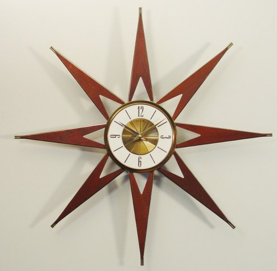 Mid Century Modern Starburst Clock By Elgin Atomic By