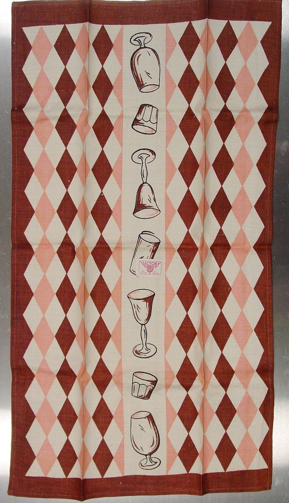 Linen Tea Towel, by K&B, 1950s Pink and Brown, Pure Linen - Unused, New Condition