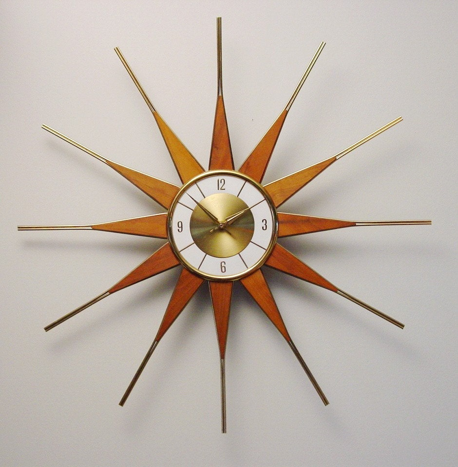 Vintage Starburst Sunburst Atomic Eames Era Mcm Wall Clock