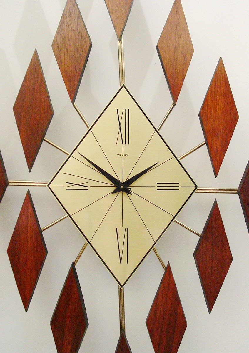 starburst clock of diamonds mid century modern sunburst clock