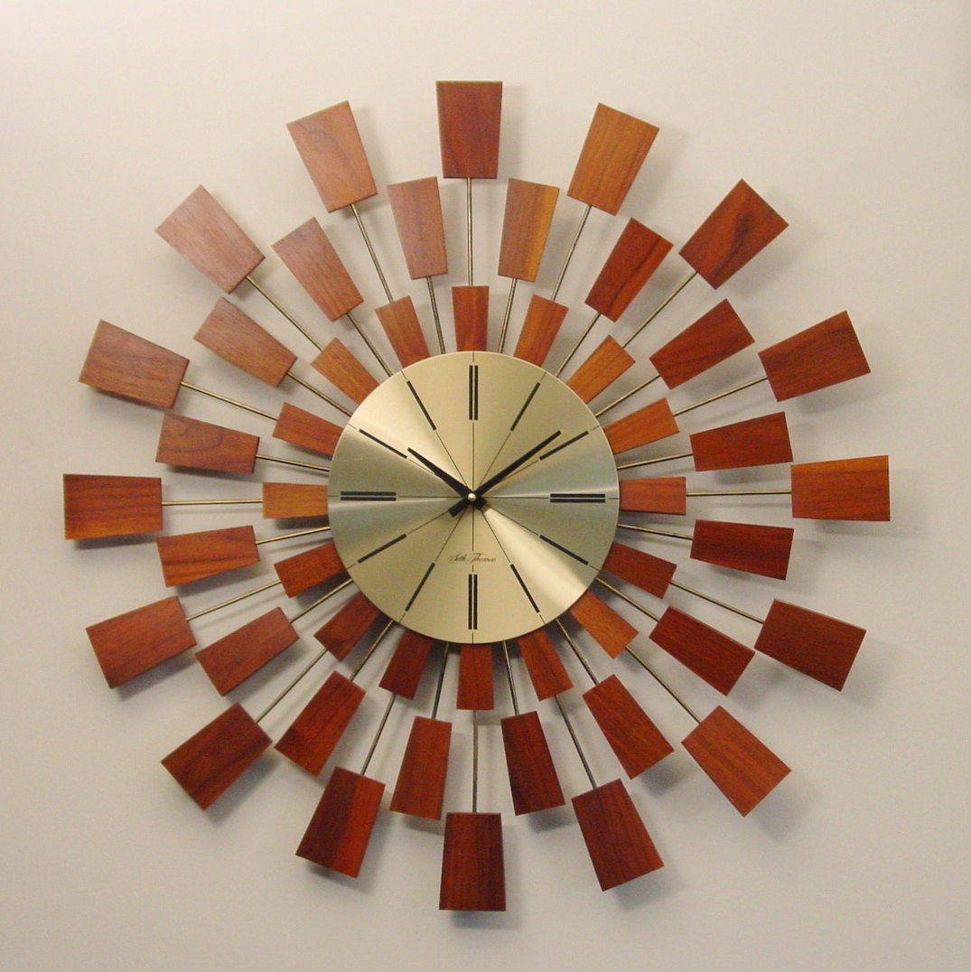 seth thomas modern wall clock mid century grandeur model