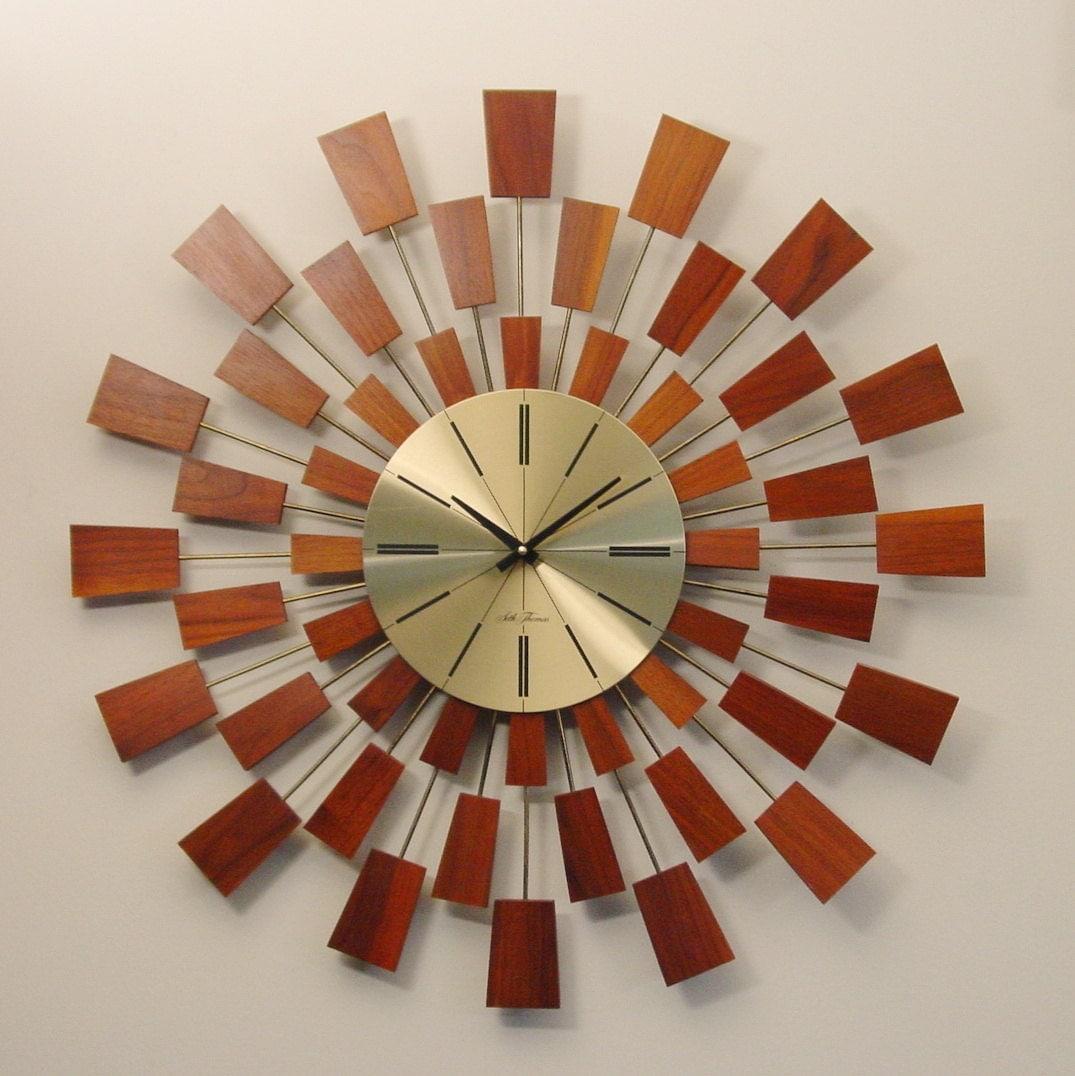 seth thomas modern wall clock mid century grandeur model