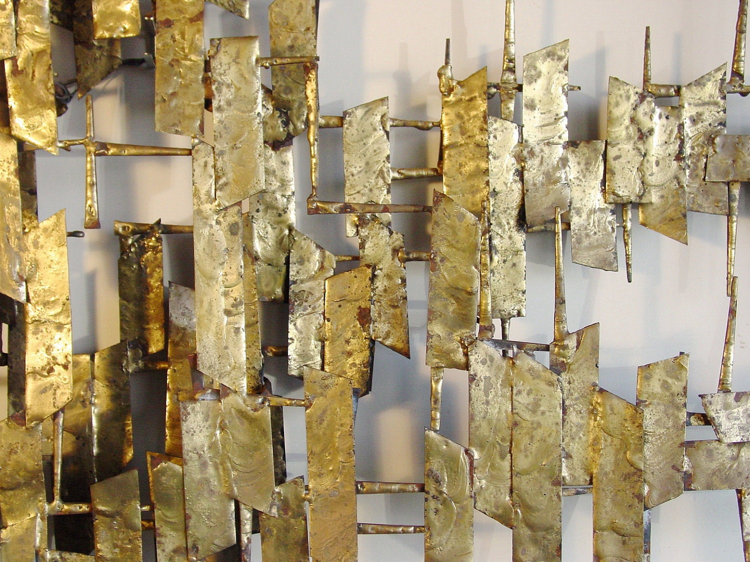 Brutalist Wall Sculpture Brazed Masonry Nails And Sheet