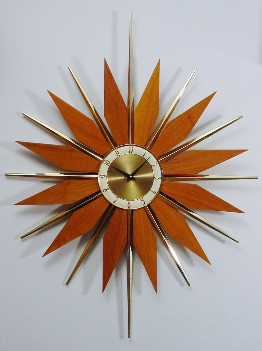 Reserved Currently For Przybylak Vintage Starburst Clock