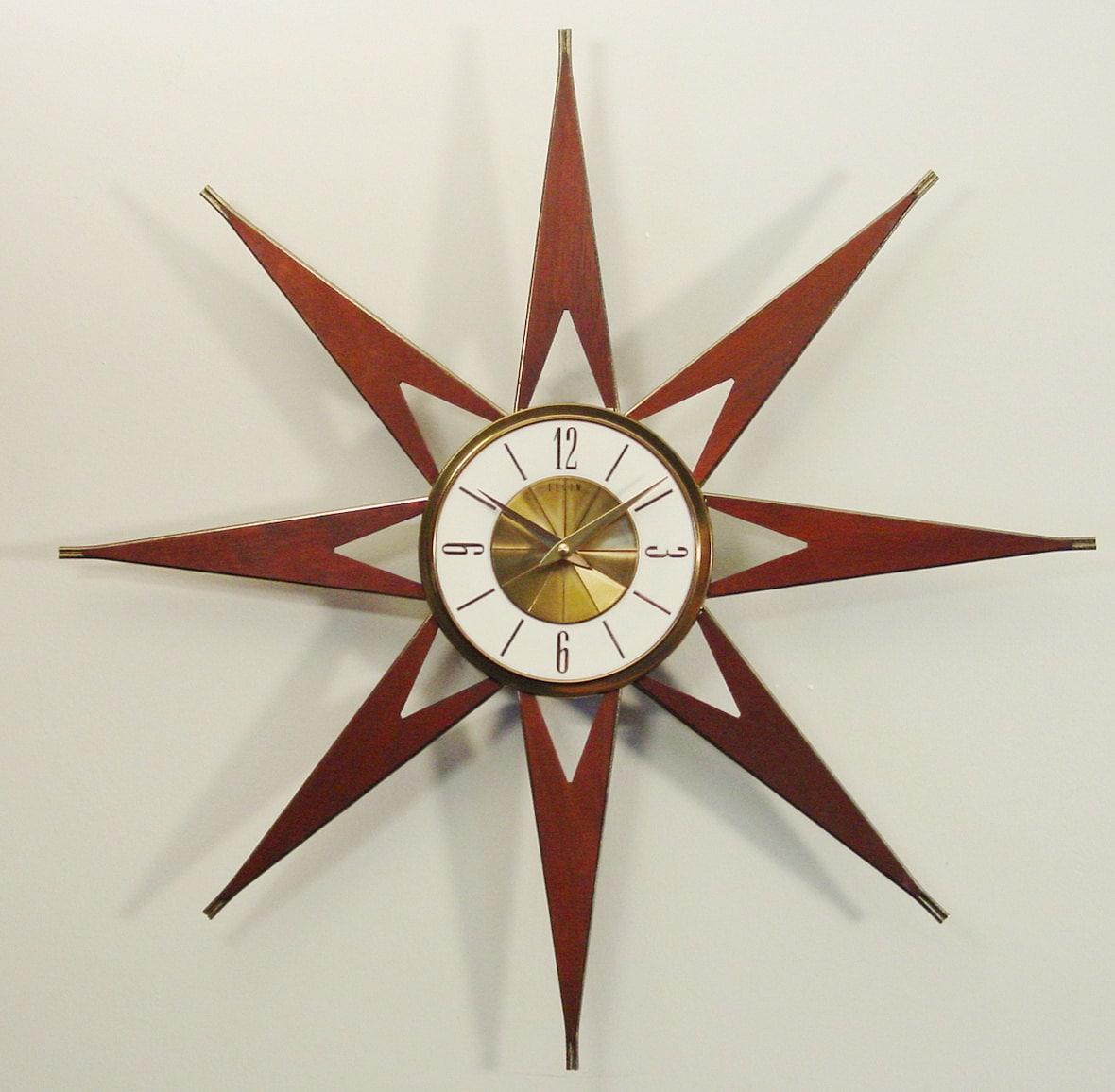 mid century modern starburst clock by elgin atomic sunburst