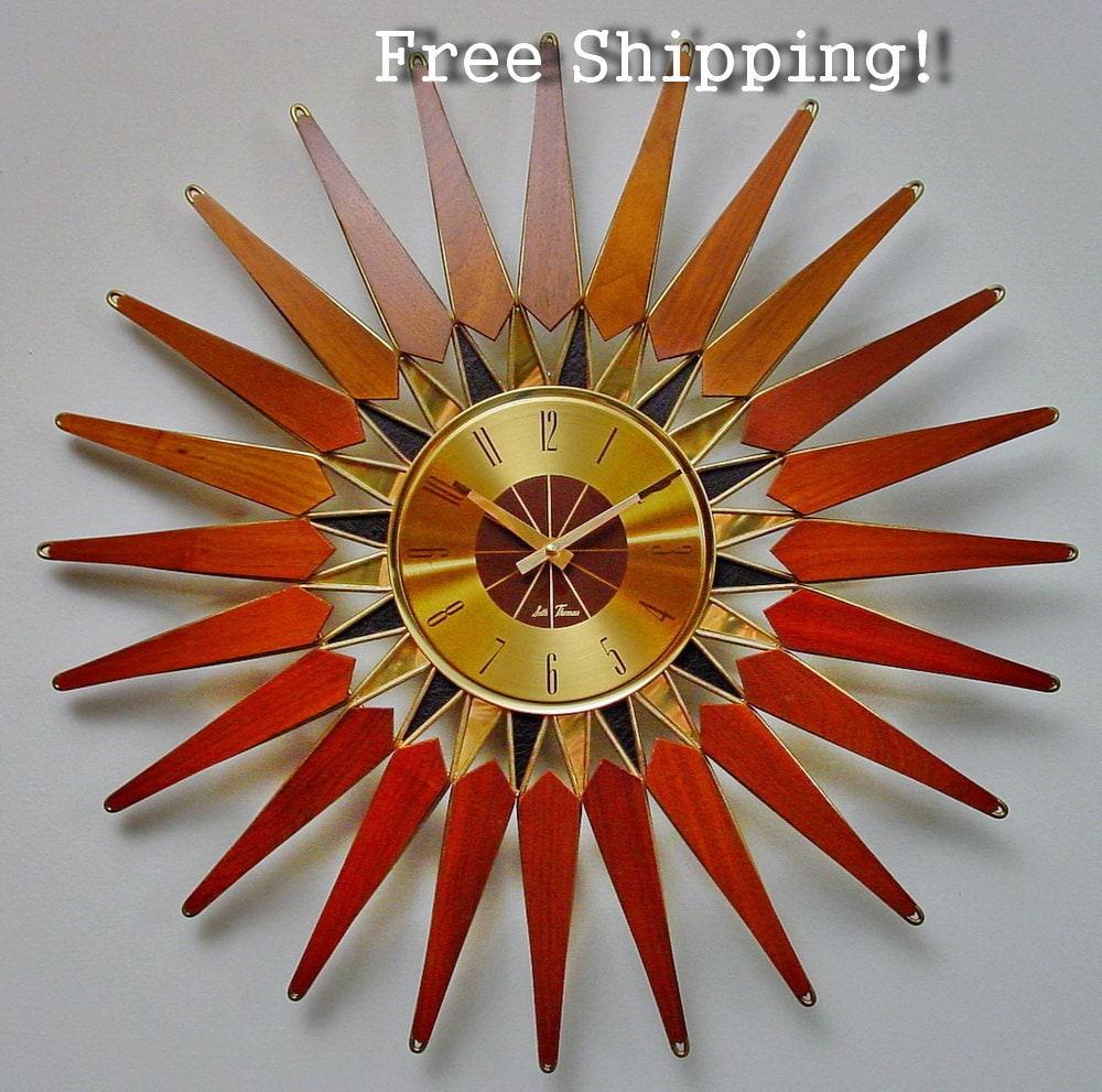 Vintage Mid Century Starburst Clock By Seth Thomas Mid