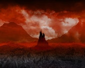 Tolkien Mordor Lord of the Rings - Barad-Dur - dark tower red fine art print fantasy gothic 20x20