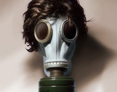 Jane - Still Life Gas Mask Fine Art Photograph - chemical warfare ww1 ww2 wig head 16x20
