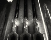 Infrared Cathedral Stone Photograph - Triumvirate - black and white statues glow art deco 8.5x11