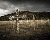 A Miner's Grave - Fine Art Photograph (New Mexico) - cross cemetery spiritual religion 16x24