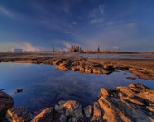 Industrial Landscape Photograph - Dawn - lake reflection oil refinery blue sky sunrise 16x20