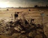 Industrial Apocalypse - Painting & Photograph Composite - Empty Cart - refinery factory dystopia 24x36