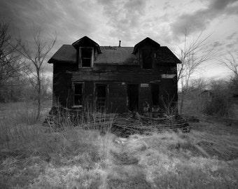 Eerie Infrared Black & White Photography - The Neighbors - burned house dark haunted 10x15