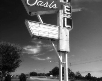 1950s Retro Infrared Sign Photograph - Oasis Motel - black and white route 66 fifties 12x18