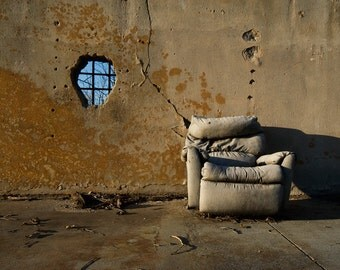 Fine Art Photograph Composition - Lonesome Throne - cracked concrete surface chair window 16x20