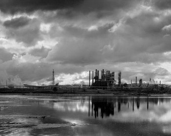 Black and White Photograph - Arkansas River Panorama - industrial oil refinery water reflection 12x36