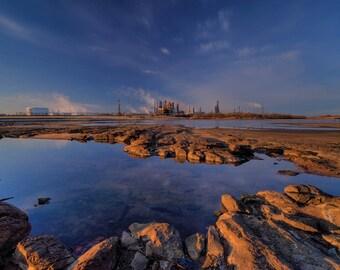 Industrial Landscape Photograph - Dawn - lake reflection oil refinery blue sky sunrise 16x20