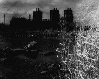 Industrial Black & White Infrared Photograph - North - fine art dark factory power plant river 16x24