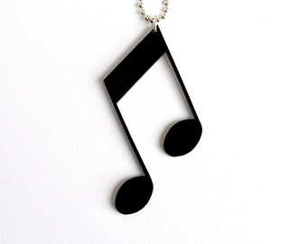 MUSIC NOTE Pendant - Musical Symbols - Plexiglass Jewellery - gifts under 25